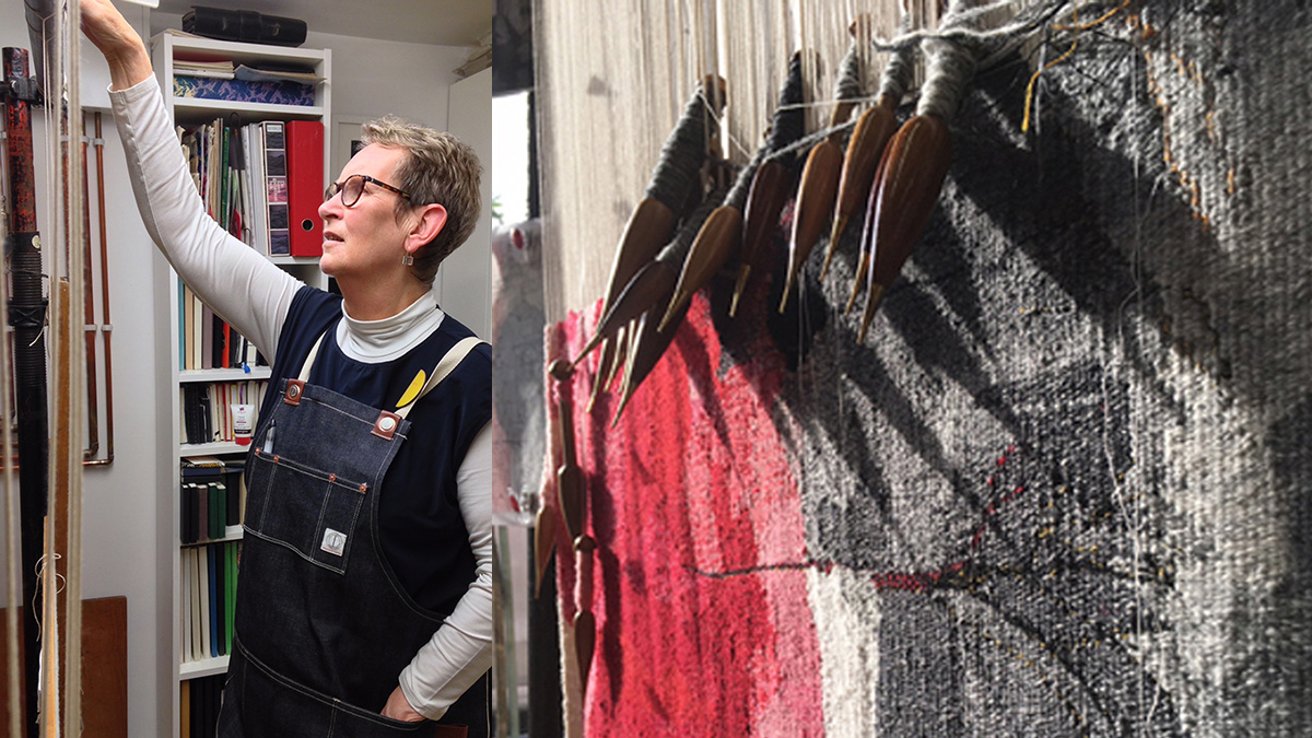 Jilly Edwards in studio and tapestry work in progress. Images courtesy of the artist.