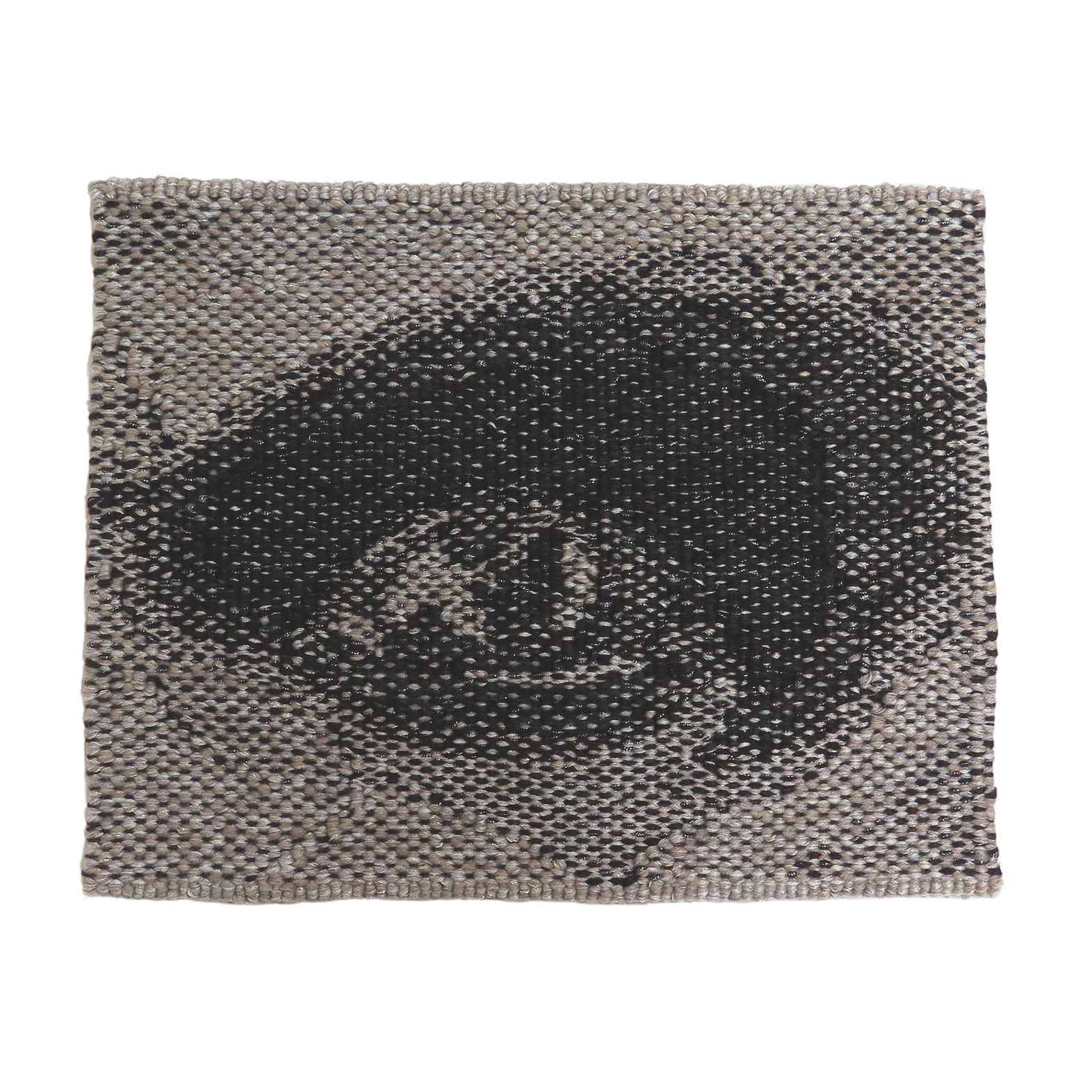 'Miili' Edition #6 designed by Brook Andrew in 2019, woven by Chris Cochius, wool, cotton, Lurex, 23.3 x 28.7 cm.