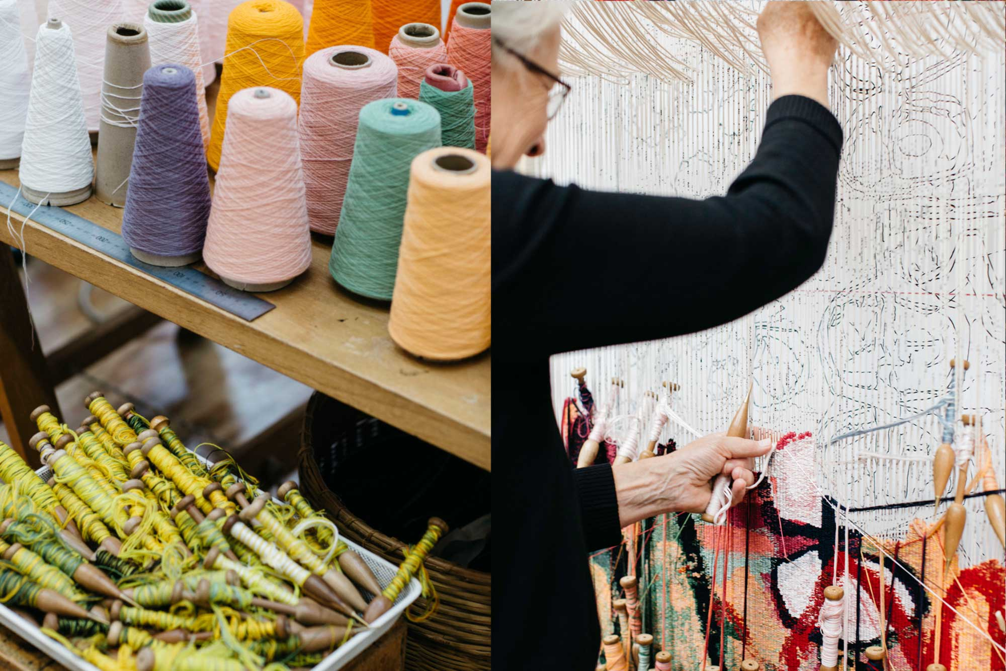 Left to right: Tapestry bobbins and yarn; Pamela Joyce weaves 'The Royal Harvest' tapestry, designed by Naomi Hobson and woven by Pamela Joyce, Sue Batten, Tim Gresham & Jennifer Sharpe. . Photo: Marie-Luise Skibbe.