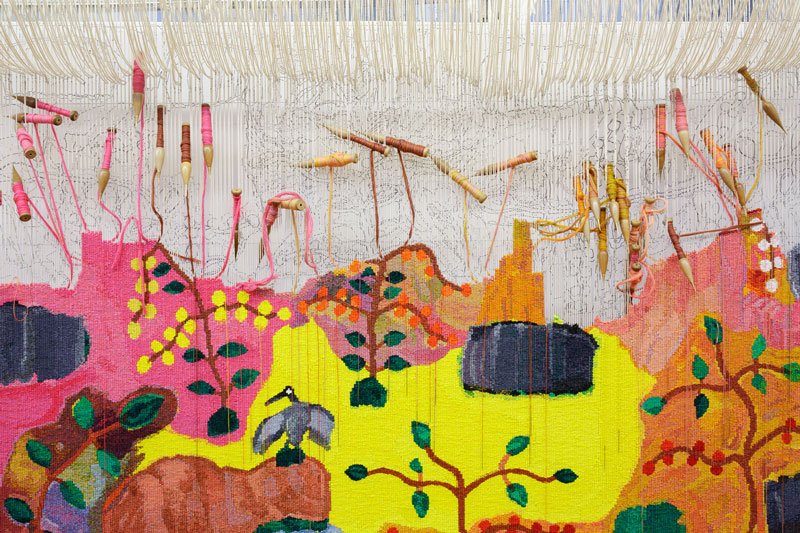 Detail of 'Bush Foods,' 2015, designed by Sheena Wilfred and woven by Chris Cochius, Pamela Joyce & Cheryl Thornton, wool and cotton, 1.84 x 2.15m. Photograph: Jeremy Weihrauch.