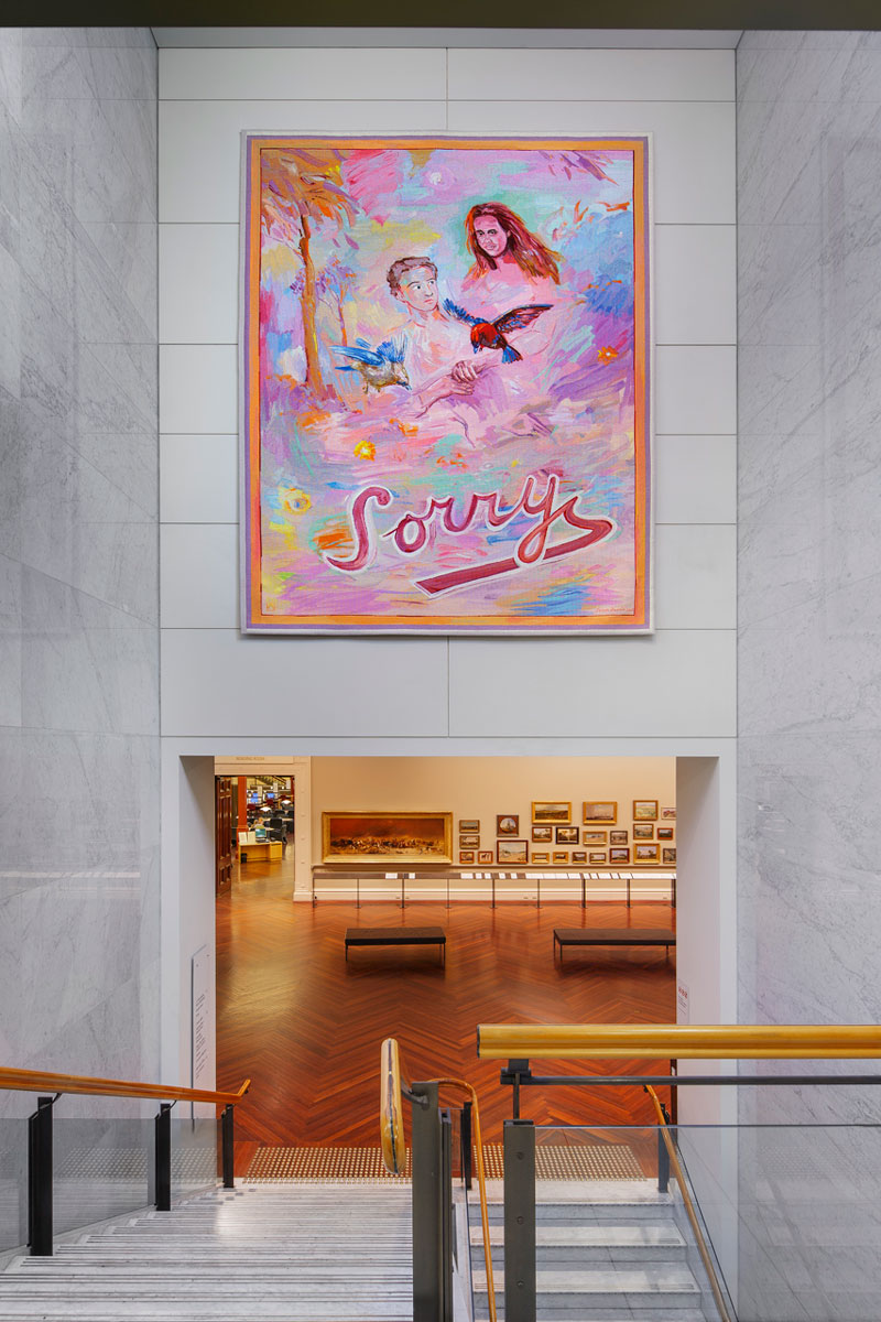 'Sorry' designed by Juan Davila in 2013, in situ at the State Library of Victoria. Photograph: John Gollings AM.