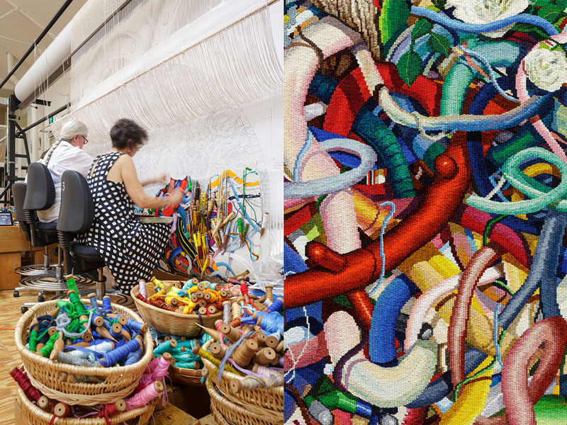 Left: ATW weavers Chris Cochius and Sue Batten working on 'Gordian Knot' designed by Keith Tyson in 2016. Photograph: ATW. Right: Detail of 'Gordian Knot' designed by Keith Tyson in 2016. Photograph: Jeremy Weihrauch.
