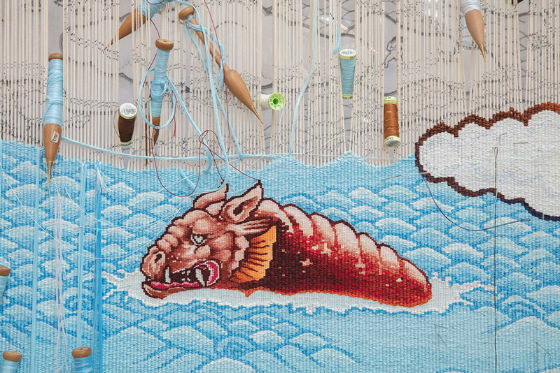 'Treasure Hunt' 2018, designed by Guan Wei and woven by Chris Cochius, Pamela Joyce, Jennifer Sharpe & Cheryl Thornton, wool and cotton, 0.864 x 3.5m.  Photograph: John Gollings.
