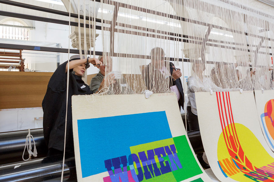 Cutting Off Ceremony for 'The Declaration of the Rights of the Child' tapestry, 2018, artwork by Emily Floyd. Artwork courtesy of the artist & Anna Schwartz Gallery. Photograph: Jeremy Weihrauch.