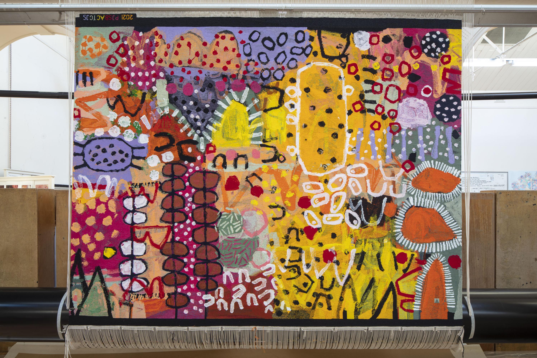 'The Royal Harvest', 2021, designed by Naomi Hobson, woven by Pamela Joyce, Sue Batten, Tim Gresham & Jennifer Sharpe, wool and cotton, 2.05 x 2.8m. Photo: John Gollings AM.