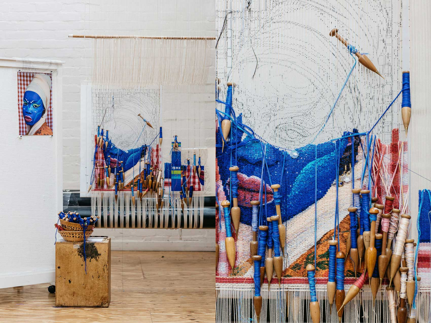Tapestry in progress: 'Self Portrait in July (4)', 2021, designed by Atong Atem, woven by Pamela Joyce. Images courtesy of Marie-Luise Skibbe.