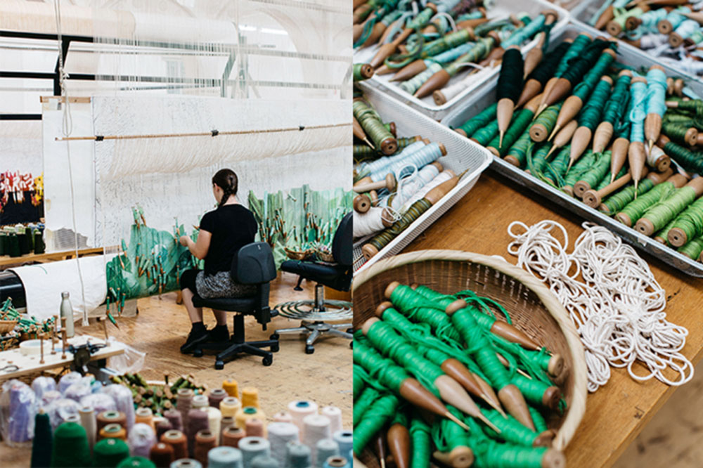 'Hear the Plant Song' tapestry in progress. Photos: Marie-Luise Skibbe.