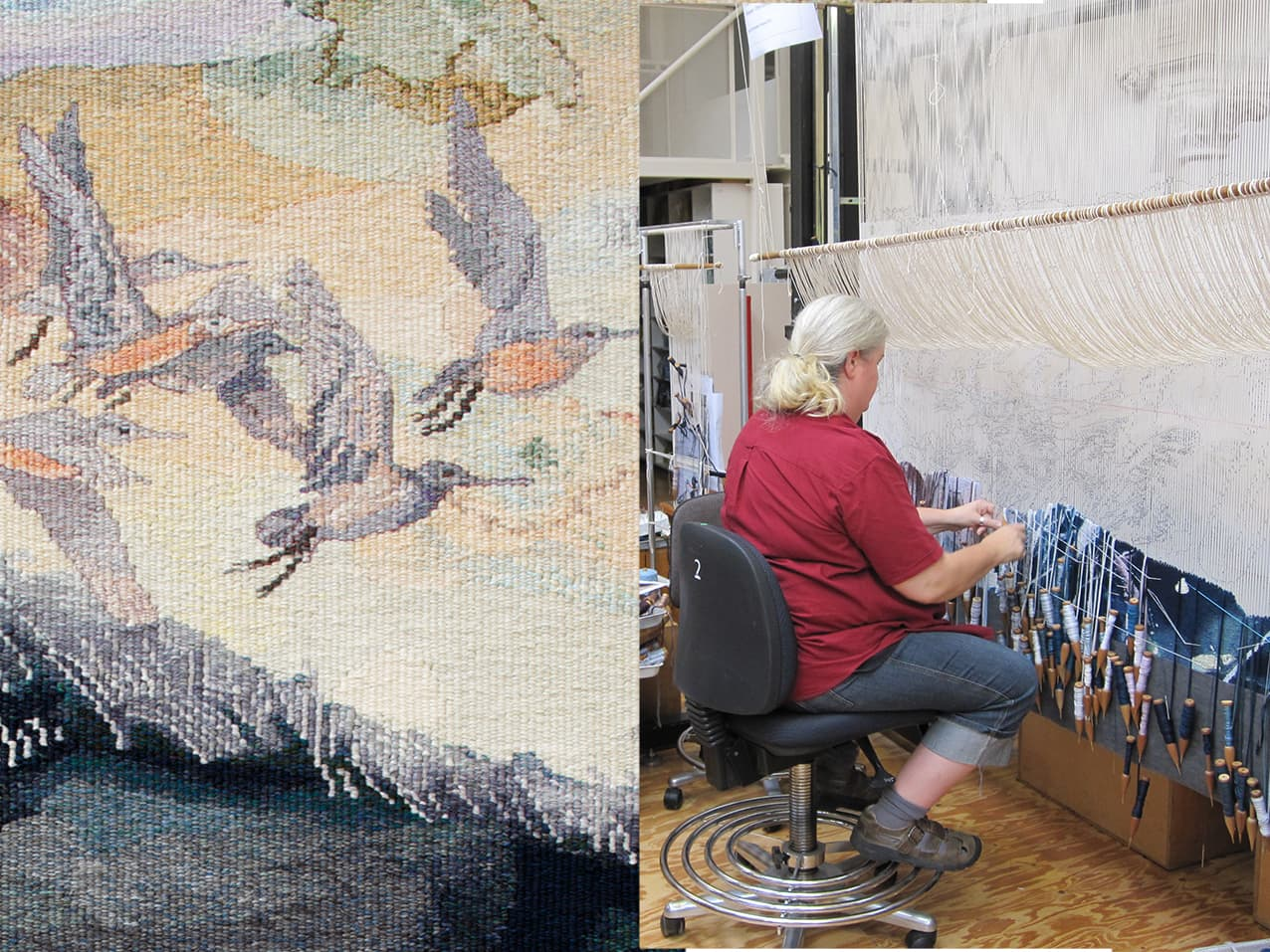 Progress shots of 'Concerning the wading birds of the Warrnambool wetlands' 2012, designed by John Wolseley, woven by Chris Cochius, Pamela Joyce & Milena Paplinska, wool and cotton, 1.80 x 1.90m. Photographs: ATW.
