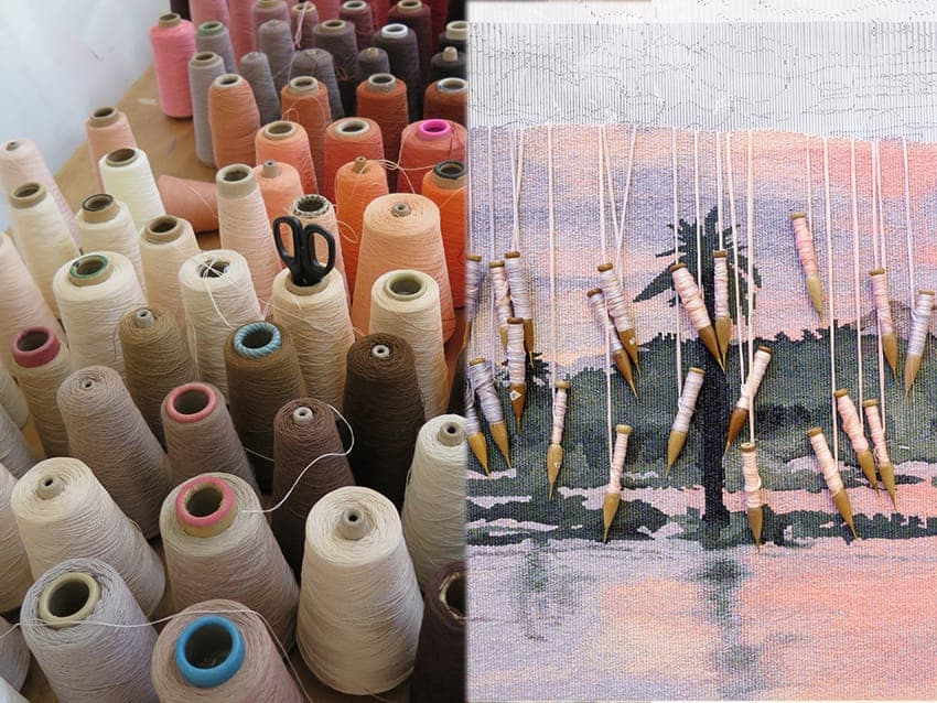 Left: Yarn at ATW. Photograph: ATW. Right: Detail of 'Rufiji River from Mbuyuni Camp, Selous Game Reserve, in Tanzania,' 2014, designed by HRH Prince of Wales, woven by Chris Cochius and Pamela Joyce. Photograph: Jeremy Weihrauch.
