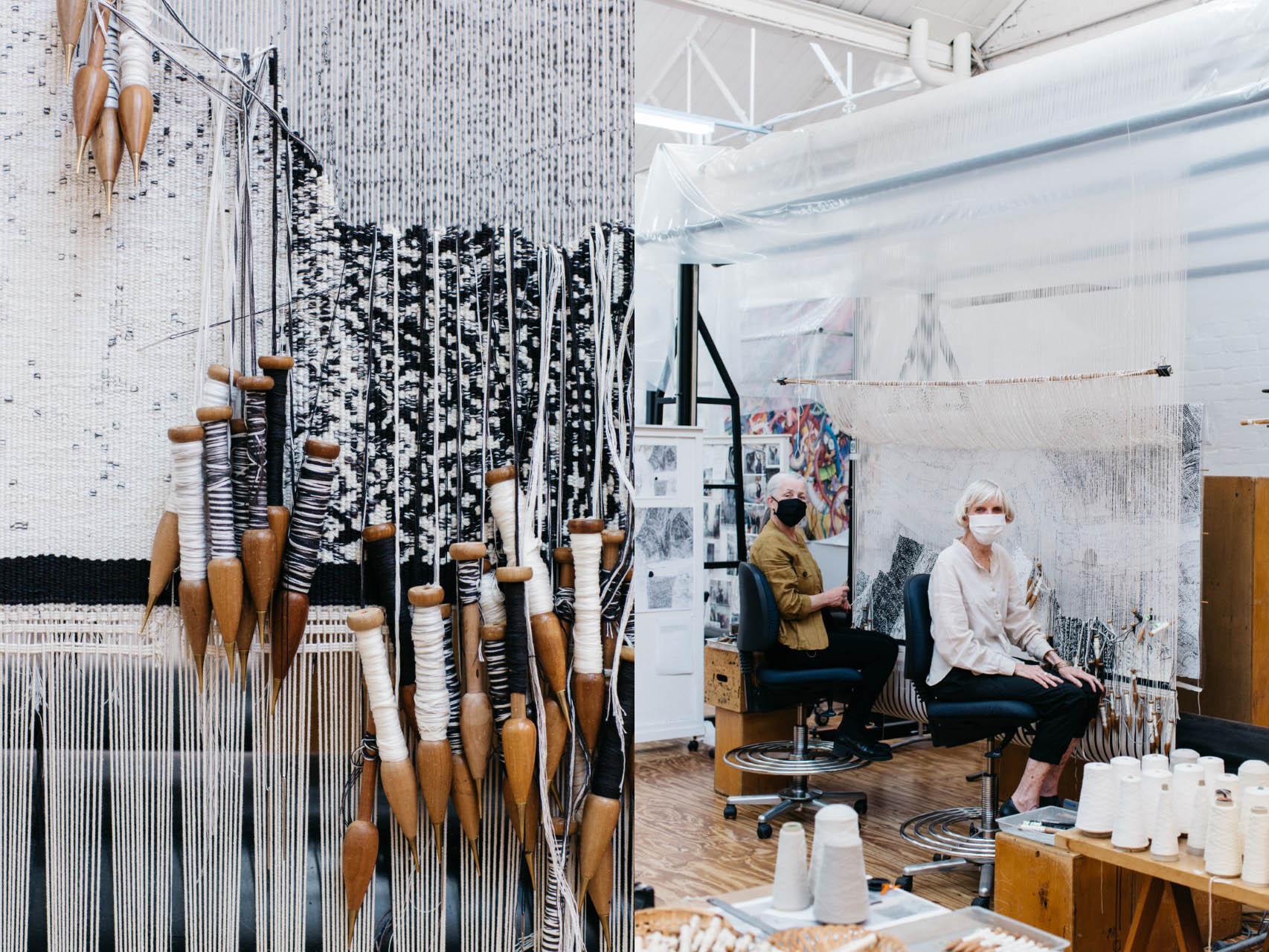 Left to right: Close up detail shot of 'Ilpili', designed by Kunmanara Carroll in 2021; ATW weavers Pamela Joyce & Cheryl Thornton working on 'Ilpili', designed by Pepai Jangala Carroll in 2021. Photos: Marie-Luise Skibbe.