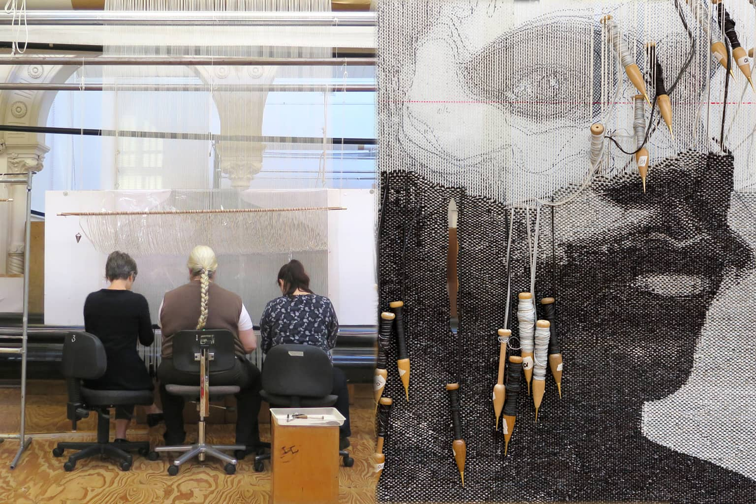Left: ATW weavers working on 'Catching Breath' designed by Brook Andrew in 2014. Photograph: ATW. Right: Detail of 'Catching Breath' designed by Brook Andrew in 2014. Photograph: Jeremy Weihrauch.