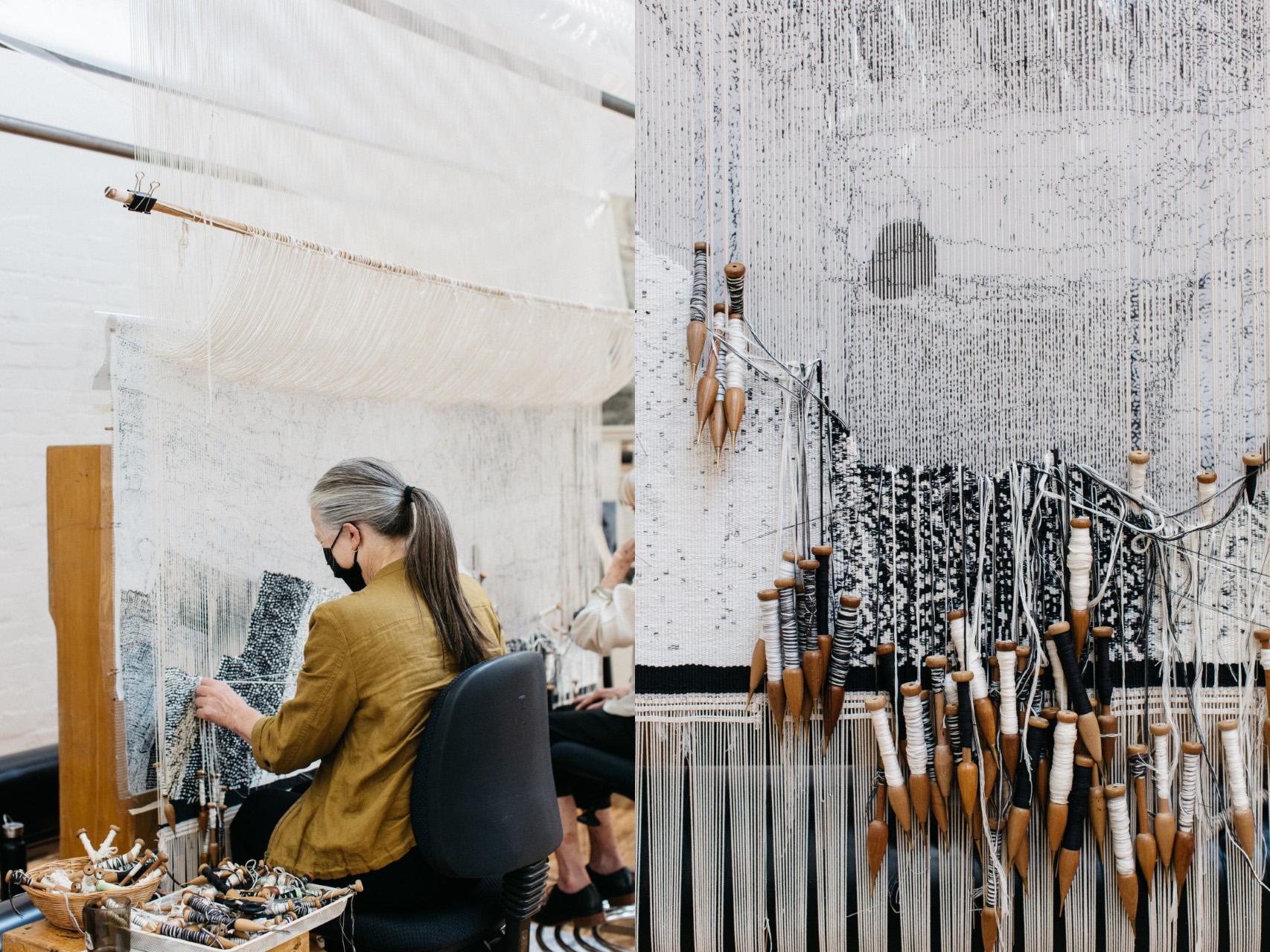 Left to right: ATW weaver Pamela Joyce working on 'Ilpili', designed by Pepai Jangala Carroll in 2021; Close up view of 'Ilpili', 2021, designed by Pepai Jangala Carroll, woven by Pamela Joyce, Chris Cochius & Cheryl Thornton. Photos: Marie-Luise Skibbe.
