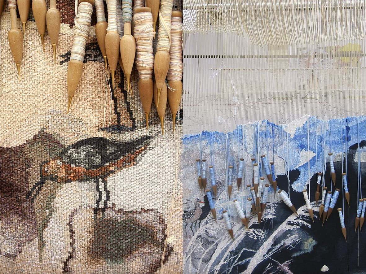 Detail shots of 'Concerning the wading birds of the Warrnambool wetlands' 2012, designed by John Wolseley, woven by Chris Cochius, Pamela Joyce & Milena Paplinska, wool and cotton, 1.80 x 1.90m. Photographs: Viki Petherbridge.