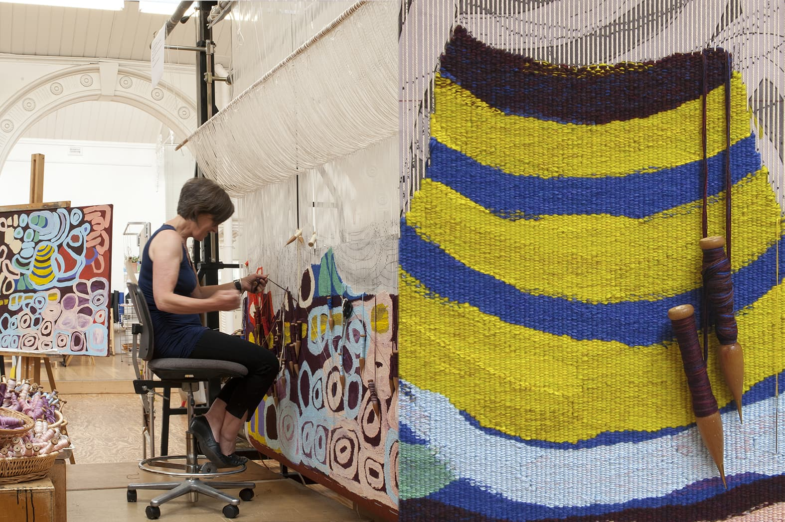 Left: ATW weaver Pamela Joyce working on 'Kungkarrakalpa (The Seven Sisters)' designed by Anmanari Brown in 2012. Photograph: Viki Petherbridge. Right: Detail of 'Kungkarrakalpa (The Seven Sisters)' designed by Anmanari Brown in 2012. Photograph: ATW.
