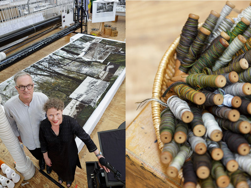 Right: Lyndell Brown & Charles Green with the 'Morning Star' tapestry at ATW. Right: Bobbins at ATW. Photographs: Jeremy Weihrauch.