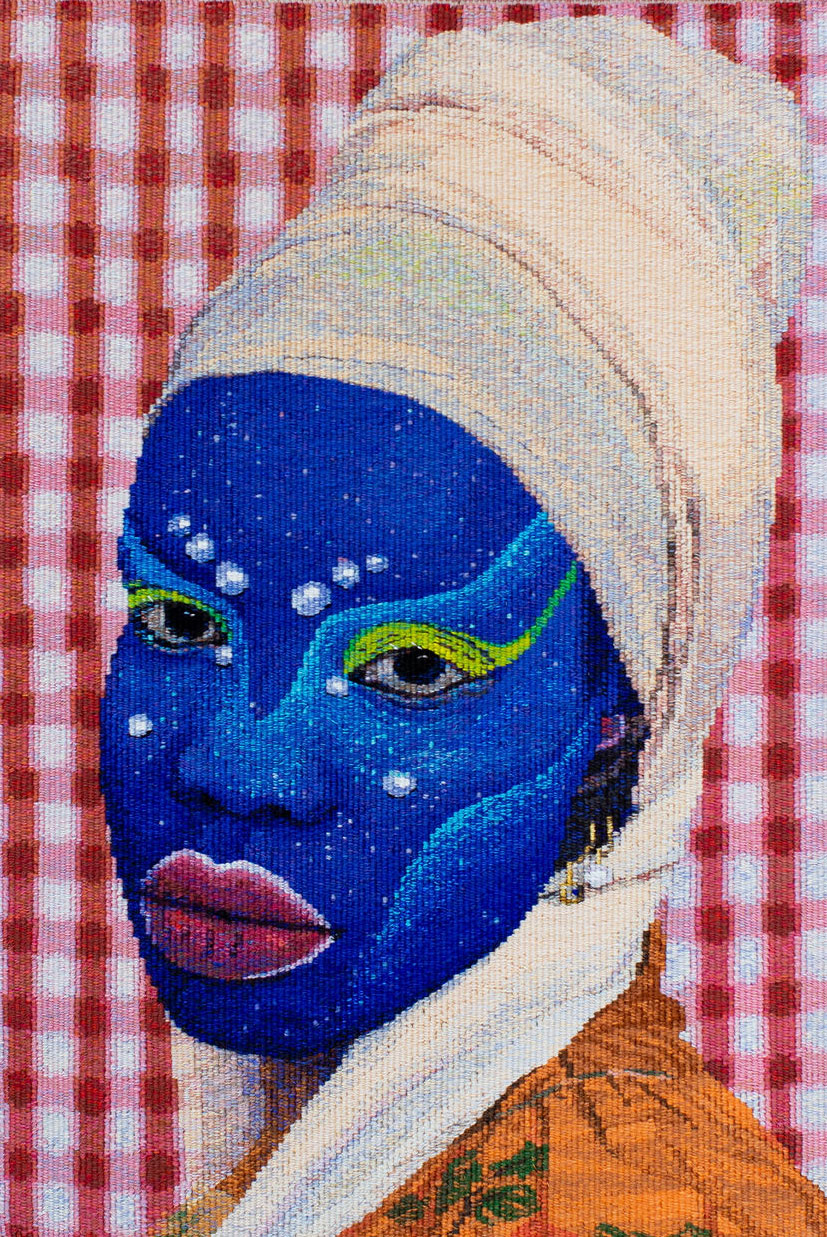 'Self Portrait in July (4)', 2021, designed by Atong Atem, woven by Pamela Joyce, wool and cotton. Photograph courtesy of Marie-Luise Skibbe.