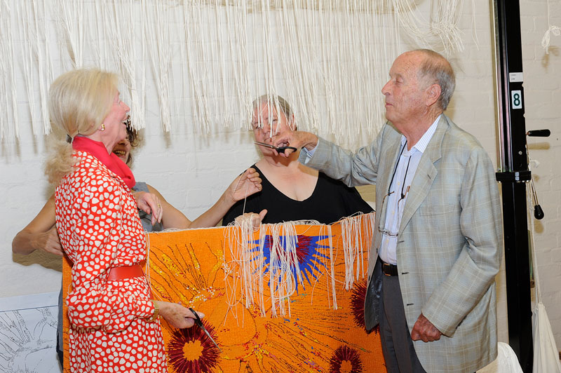 Cutting Off Ceremony for 'Diamond Jubilee Project' 2013, designed by Nusra Latif Qureshi, woven by Sue Batten & Chris Cochius, wool and cotton, 1.00 x 1.50m. Photograph: John Brash.
