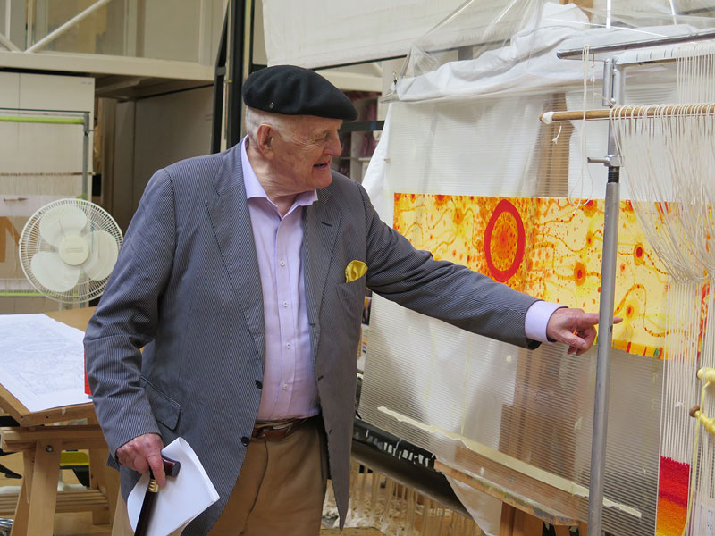 John Olsen AO OBE visiting the ATW to see the progress of 'Life Burst' in 2016. Photograph: ATW.
