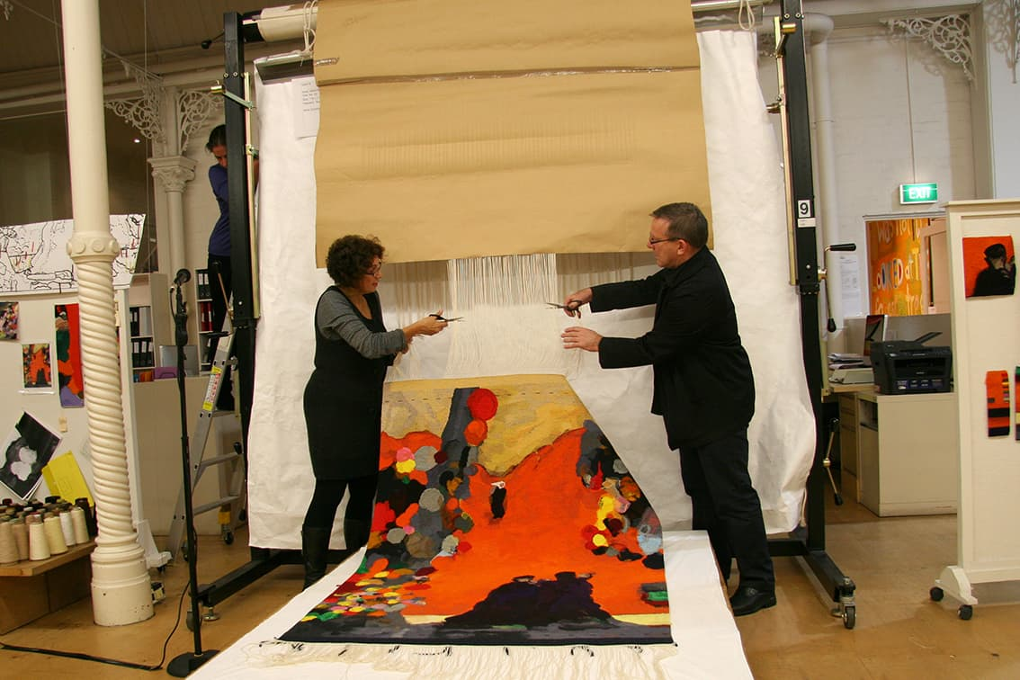 Cutting Off Ceremony for 'Rome' 2012, designed by Brent Harris, woven by Sue Batten, wool and cotton, 1.60 x 1.18m. Photograph: ATW.