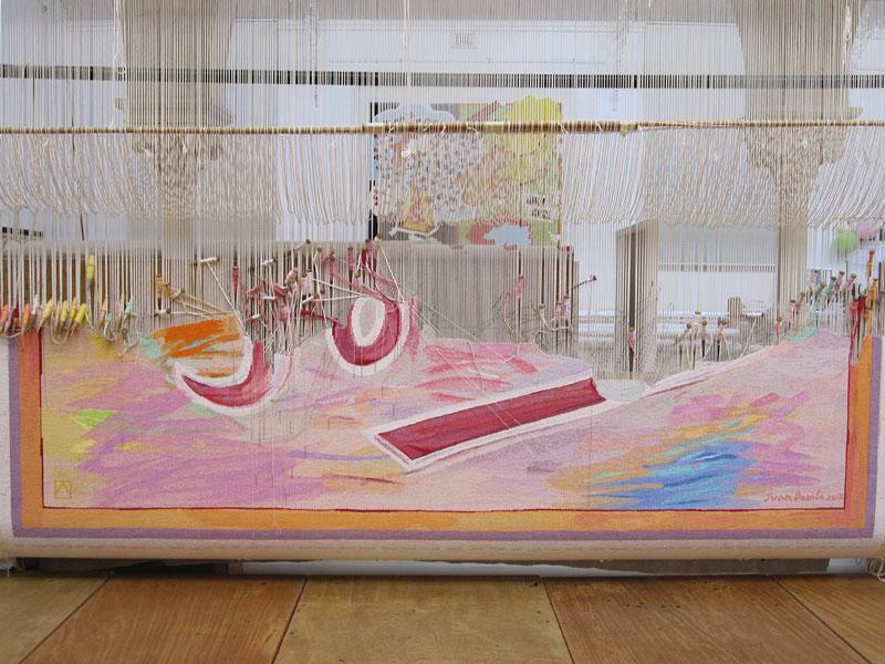 'Sorry', 2013, designed by Juan Davila, woven by Sue Batten, Pamela Joyce, Milena Paplinska & Cheryl Thornton, wool and cotton, 4.20 x 3.26m. Photograph: ATW.
