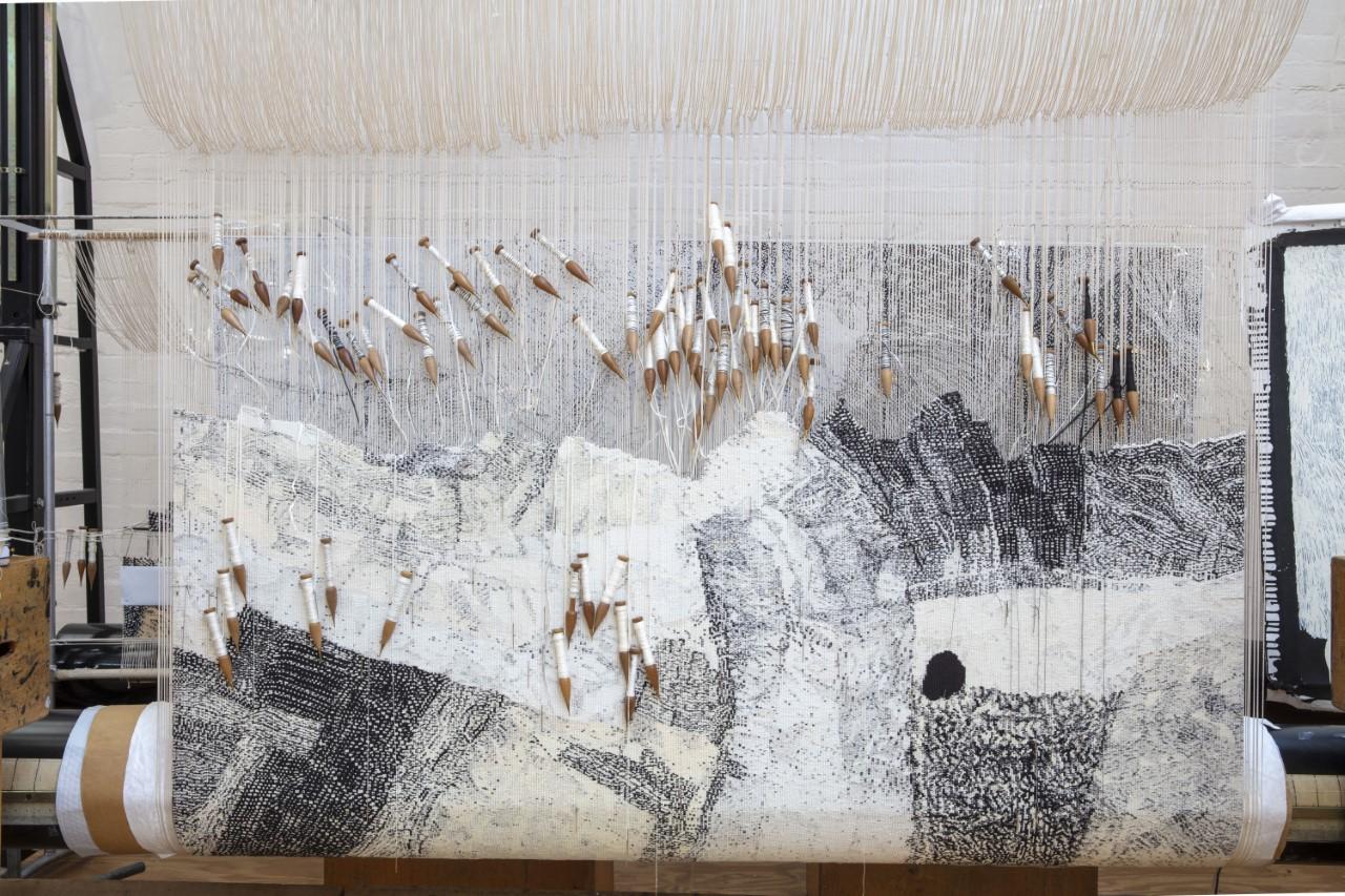In progress: 'Ilpili', 2021, designed by Kunmanara Carroll, woven by Pamela Joyce, Chris Cochius, Cheryl Thornton & Sue Batten, 1.2 x 1.9 m, wool and cotton. Photo: John Gollings AM.