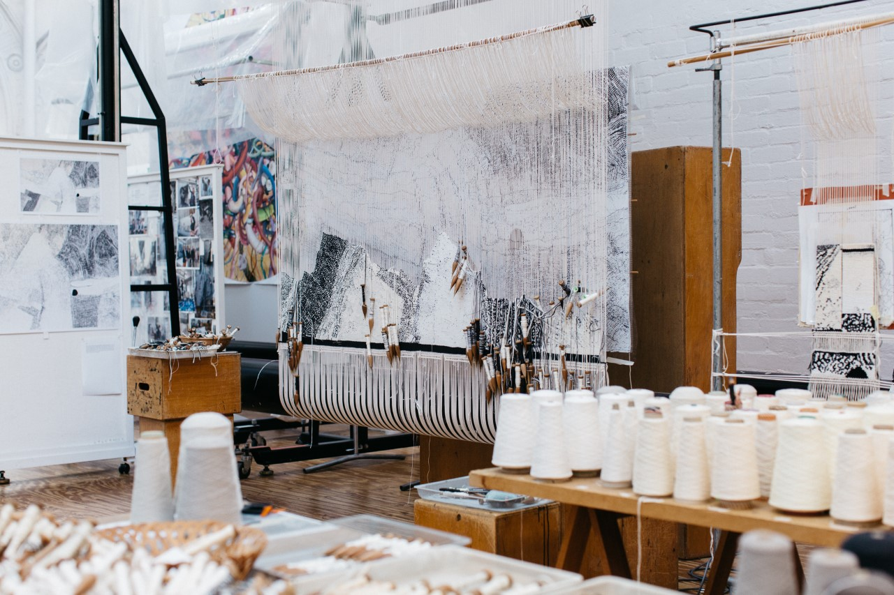 In progress: 'Ilpili', 2021, designed by Kunmanara Carroll, woven by Pamela Joyce, Chris Cochius, Cheryl Thornton & Sue Batten, 1.2 x 1.9 m, wool and cotton. Photo: Marie-Luise Skibbe.