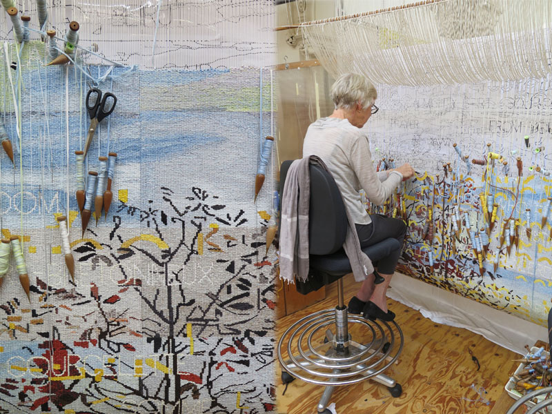 Left: Detail of 'Avenue of Remembrance' designed by Imants Tillers in 2015. Photograph: ATW. Right: ATW weaver Cheryl Thornton working on 'Avenue of Remembrance' designed by Imants Tillers in 2015. Photograph: ATW.